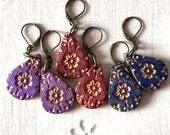 Moroccan Inspired Earrings, Gold Arabesque, Fall Colors Blue Burgundy, Violet Drop earrings, Paisley, Necklace Earrings Set, Gold Arabesque