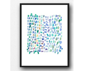 Sea glass art little abstract Watercolor painting multicolored beach finds