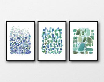 Set of 3 large prints, Nautical Beach house office decor, blue green Watercolor paintings, watercolor prints green blue
