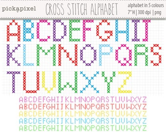 Cross Stitch Alphabet in 5 Colors, Alphabet clip art, digital clip art, personal and commercial use