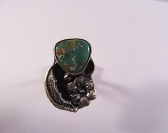 1970s Silver and Turquoise Ring
