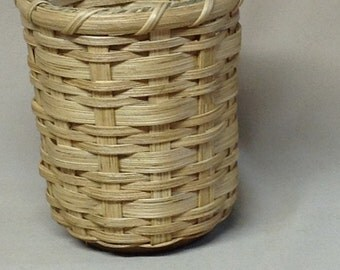 Round, Wood Base Basket with Wood Handle, Hand Woven, Pencil Or Utensil Holder