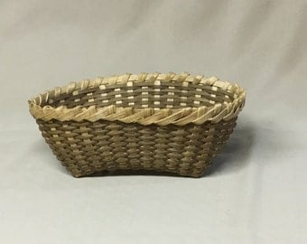 Small Oval Basket, Hand Woven, Light Brown Accent Color, Candy Dish