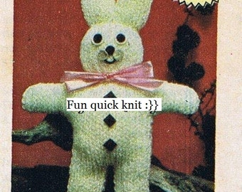 Knitting pattern, teddy, quick knit, fun, easy, stash buster, immediate digital download