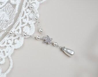 Starfish-Cubic Zirconia Starfish Necklace and White/Ivory Cream Swarovski Pearls,Bridal Necklace,Bridesmaids Necklace,Beach Wedding Necklace