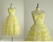 50's Prom Dress // Vintage 1950's Lemon Tulle Lace Strapless Wedding Party Prom Dress XS