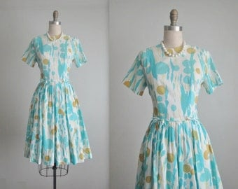 60's Day Dress // Vintage 1960's Abstract Print Summer Full Pleated Garden Party Dress S