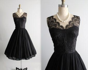 50's Chiffon Dress // Vintage 1950's Black Lace Illusion Chiffon Full Cocktail Party Dress S