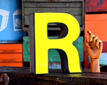 Vintage Marquee Sign Letter Capital 'R': Large Yellow Wall Hanging Initial -- Industrial Neon Channel Advertising Salvage