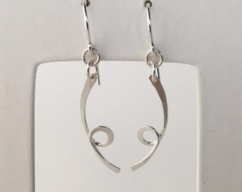 Silver Curl Earrings, Hammered Curl Earrings, Silver Curl Dangles, Silver Twist Earrings, Silver Spiral Earrings