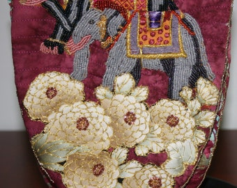 Hand Beaded Purse Two Elephants Dressed For a Party