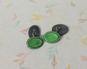 Antique Art Deco Mint Green Cufflinks Sterling Silver Cufflinks 1920's