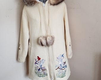 Beautiful Vintage Inuit Coat Wolf Fur Trim Limited Edition by Northern Sun Aquamarine