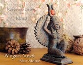 RESERVED LISTING for Mara - Winged Auset Altar Statue - Handcrafted Clay Figure Sculpture -  Bronze Patina Finish and Natural Carnelian Disc