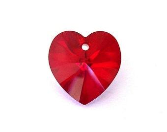 18mm Siam AB Swarovski crystal heart, large deep red crystal heart, Siam AB heart pendant, 18mm dark red heart pendant, qty 1