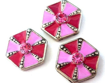 3 pink and magenta 2 hole slider beads or buttons, pink octagon slide, pinwheel two tone pink slider beads, pink spacer beads
