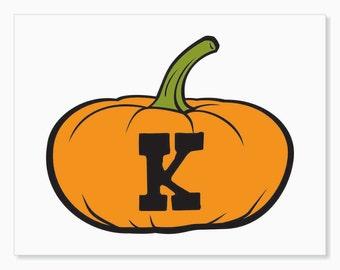 Printable Digital Download DIY - Fall Art Monogram Pumpkin - short K - Print frame or cut out for seasonal Halloween decorating orange black