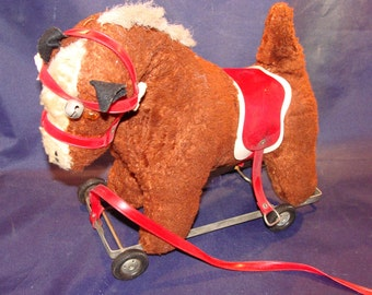 1950's Plush Pull Toy Horse by Stern New York