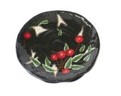 Cherries, cherry plates, Plates, Decorative Plates, Ceramic Plates, Kitchen Dining, Two Plates,  Black with Red Cherries