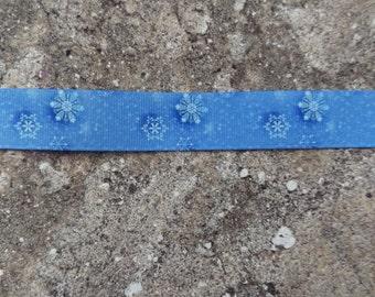 "7/8"" Snowflakes Grosgrain Ribbon -  5 Yards"