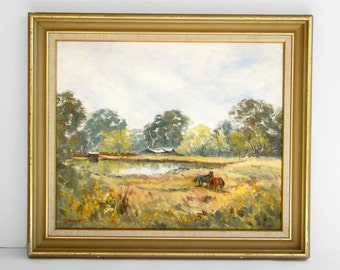 Landscape Oil Painting, Farm Painting, Horse Painting, Australian Landscape, Signed Original Painting, Framed Painting, Gum Trees,