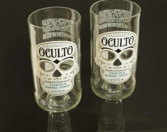Beer Bottle Wine Glasses Oculto Skull Goblets Candle Holders Set Of 2