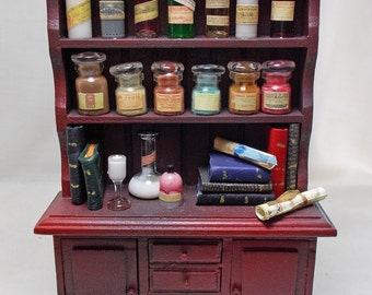 Dolls house Miniature Poison / Chemist / Apothecary filled Cabinet (red/blk)