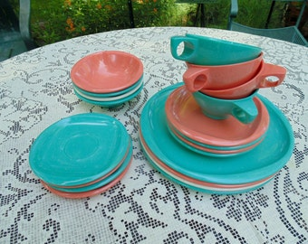 Boontonware Dishes. Boontonware Melamine. Boonton Dishes. Melmac Dishes. Service for 4. breakfast set. 1950s RV. Aqua Salmon Pink White