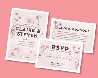 Modern Botanical Printable Wedding Invitations