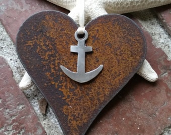 Mixed Metal Heart and Anchor ornament Custom Nautical decor Silver Anchor recycled metal ornament Rustic heart ornament