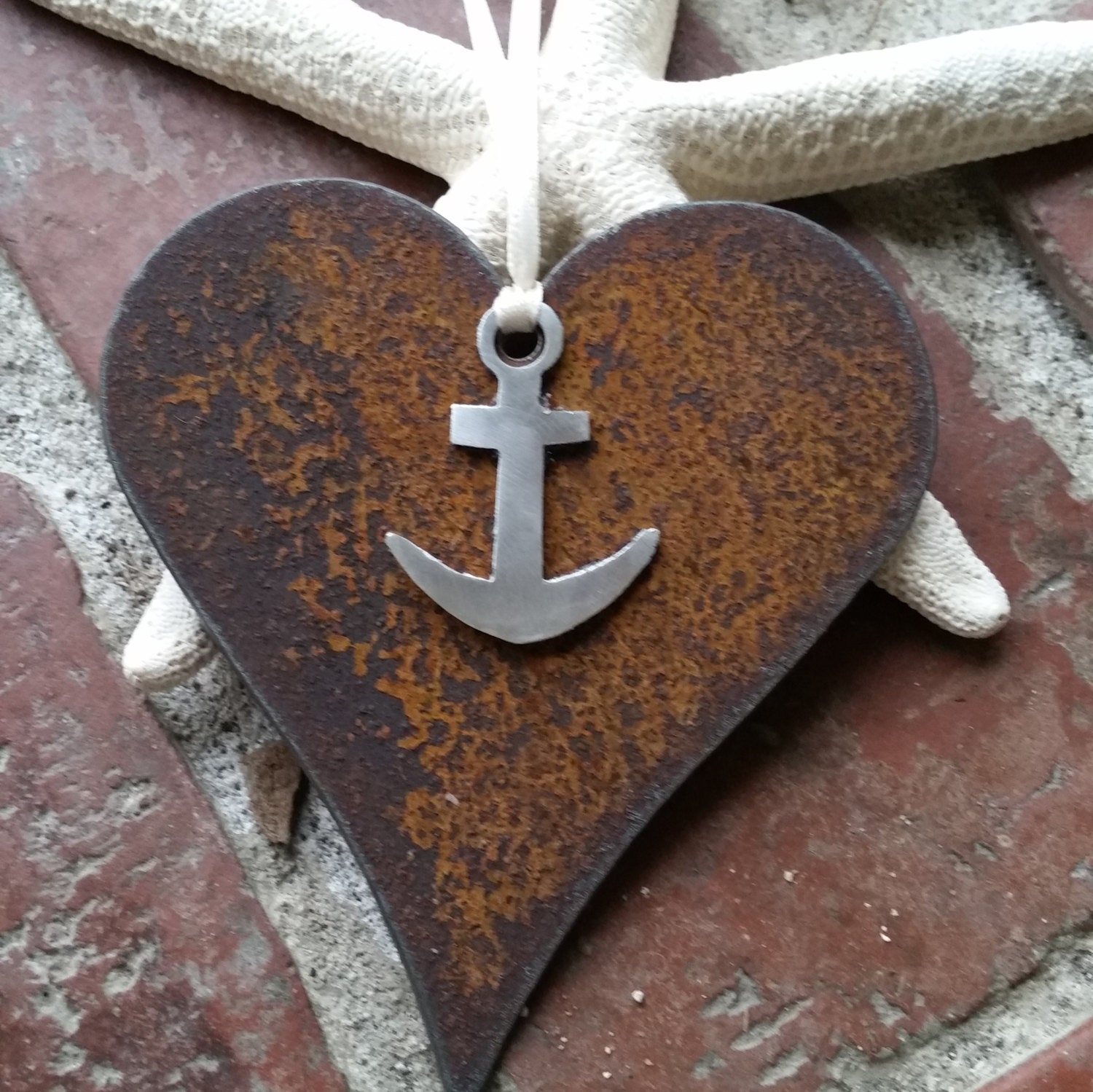 Mixed Metal Heart And Anchor Ornament Custom Nautical Decor