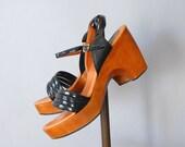 Wooden Platform Sandals / Red Hot Platforms / 1970s