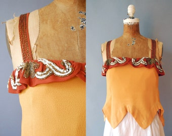 1930s Beaded Blouse / Crepe Blouse / 20s