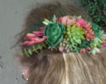 Wedding Succulent Plants Hair Comb Accessory