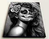 8x10 in Stretched Canvas Print - Duality - Dia De Los Muertos Tattoo Flash Day of the Dead Sugar Skull Girl