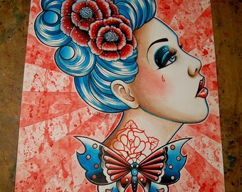 ORIGINAL 11x14 in. Watercolor Painting - Tattoo Art Pin Up Girl Butterfly Gypsy Head Traditional Tattoo Flash Woman - This is How it Goes