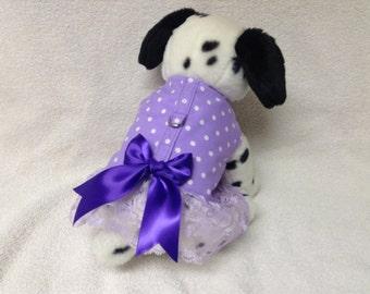 Dog Harness Vest And Optional Matching Leash  Custom Sizes From XSmall - Medium Lavender Polka Dot
