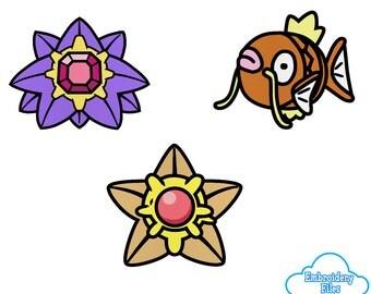 EMBROIDERY FILES: Water Type Pokedoll Set (Magikarp, Starmie, Staryu) Pokemon - Embroidery Machine Design