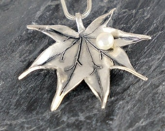 Japanese Maple Leaf Necklace Gift For Women, Leaf Silver Necklace In Sterling Silver with White Pearl, Leaf Pendant Foliage Jewelry