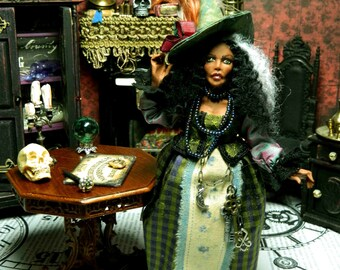 Witch, Fortune Teller, Miniature, Doll House Miniature, Black Doll, Chloe Dragonflower The Fortune Teller Witch