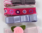Set of 7 hair clips. Assorted hair clips.  Pink lavender and gray. RTS
