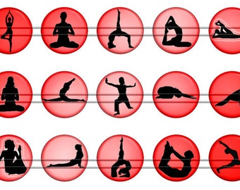 "Yoga Magnets, Yoga Pins, Yoga Postures Magnets, Yoga Postures Pins, Yoga Silhouettes, 1"", 12 ct, Flat, Hollow Bk, Cabochons"