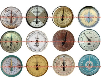 """Steampunk Dials Pins, Steampunk Magnets, Vintage Dial Magnets, Steampunk Guages, 1"""" Flat, Hollow Bk, Cabochons, 12 ct, thesteampunkcatslave"""