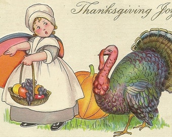 Stecher Litho Vintage Thanksgiving Postcard Little Pilgrim Girl With Basket of Fruit and Curious Turkey Tom