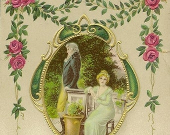 Vintage Romantic Postcard Edwardian Couple in the Garden Rose Garland Accent 1911 Anglo-American