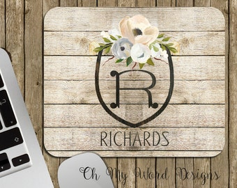 Monogram Mouse Pad-Stripe Monogrammed Mouse Pad-Shabby Chic-Wedding-Distressed-Personalized Mouse Pad-Desk Accessories-Water Color Flowers