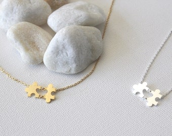 Puzzle Necklace in Silver/ Gold. Jigsaw Necklace. Love. Best Friends. Family. Everyday Wear. Unisex Gift (PNL-110)