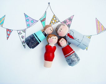 "Peg People Family,""Dressed in Their Best""Family Gift, Child's Toy, Ready to Ship"