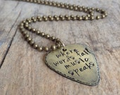 Men's Antique Brass Guitar Pick Necklace, Rustic Guitar Pick, Musician Necklace, Guitarist Necklace, Guitar Necklace