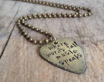 Men's Antique Brass Guitar Pick Necklace, Rustic Guitar Pick, Musician Necklace, Guitarist Necklace, Guitar Necklace, Father's Day